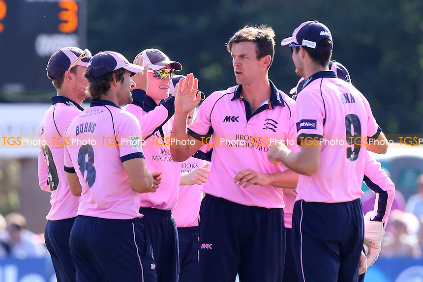 James Franklin of Middlesex (2nd R) celebrates taking the wicket of Jesse Ryder - Middlesex vs Essex Eagles - NatWest T20 Blast Cricket at the Old Deer Park, Richmond CC, Surrey - 10/07/15 - MANDATORY CREDIT: Gavin Ellis/TGSPHOTO