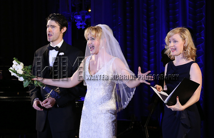 Katie Finneran and Erin Davie perform during the Drama League's 30th Annual 'Musical Celebration of Broadway' honoring Neil Patrick Harris at the Pierre Hotel on February 3, 2014 in New York City.