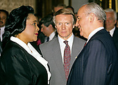 Coretta Scott King, left, meets President Mikhail Gorbachev of the Soviet Union, left, at the Embassy of the Union of Soviet Socialist Republics in Washington, DC on June 1, 1990.  The person at center is unidentified.<br /> Credit: Ron Sachs / CNP