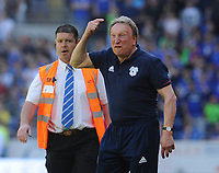 Cardiff City manager Neil Warnock shouts at the fans who invaded the pitch before the final whistle<br /> <br /> Photographer Ian Cook/CameraSport<br /> <br /> The EFL Sky Bet Championship - Cardiff City v Reading - Sunday 6th May 2018 - Cardiff City Stadium - Cardiff<br /> <br /> World Copyright &copy; 2018 CameraSport. All rights reserved. 43 Linden Ave. Countesthorpe. Leicester. England. LE8 5PG - Tel: +44 (0) 116 277 4147 - admin@camerasport.com - www.camerasport.com