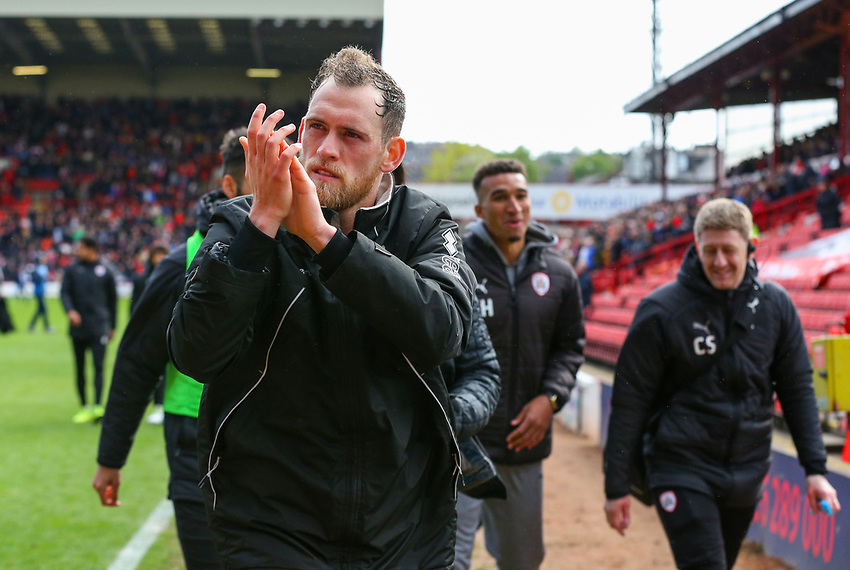 Blackpool's Harry Pritchard applauds the fans after the match<br /> <br /> Photographer Alex Dodd/CameraSport<br /> <br /> The EFL Sky Bet League One - Barnsley v Blackpool - Saturday 27th April 2019 - Oakwell - Barnsley<br /> <br /> World Copyright © 2019 CameraSport. All rights reserved. 43 Linden Ave. Countesthorpe. Leicester. England. LE8 5PG - Tel: +44 (0) 116 277 4147 - admin@camerasport.com - www.camerasport.com