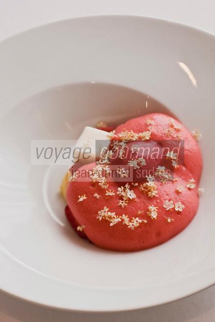 Europe/France/Auverne/63/Puy-de-Dôme/Durtol: Fraise au lait caillé - recette de  Xavier Beaudiment - Restaurant: Le Pré Carré