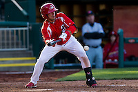 Jose Garcia (3) of the Springfield Cardinals puts down a bunt during a game against the Frisco RoughRiders on April 16, 2011 at Hammons Field in Springfield, Missouri.  Photo By David Welker/Four Seam Images