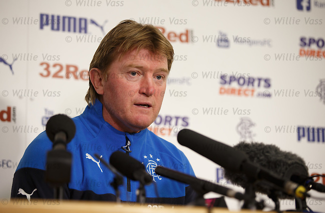 Stuart McCall is the new Rangers manager and holds his first press conference at Murray Park