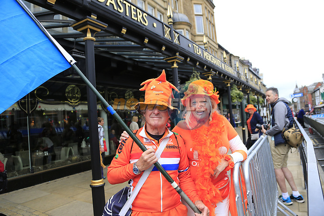 Dutch fans enjoying the Men Elite Individual Time Trial of the UCI World Championships 2019 running 54km from Northallerton to Harrogate, England. 25th September 2019.<br /> Picture: Eoin Clarke | Cyclefile<br /> <br /> All photos usage must carry mandatory copyright credit (© Cyclefile | Eoin Clarke)