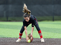 NWA Democrat-Gazette/CHARLIE KAIJO Northside High School Danessa Teague (4) makes a catch during the 6A State Softball Tournament, Thursday, May 9, 2019 at Tiger Athletic Complex at Bentonville High School in Bentonville. Rogers Heritage High School lost to Northside High School 8-6