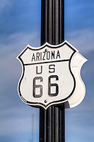 Arizona US 66 sign on lamppost in Williams Ariazona.