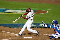 21 March 2009: #47 Endy Chavez of Venezuela makes contact during the 2009 World Baseball Classic semifinal game at Dodger Stadium in Los Angeles, California, USA. Korea wins 10-2 over Venezuela.