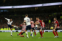 9th November 2019; Tottenham Hotspur Stadium, London, England; English Premier League Football, Tottenham Hotspur versus Sheffield United; Lucas Moura of Tottenham Hotspur shot is saved by Dean Henderson of Sheffield United - Strictly Editorial Use Only. No use with unauthorized audio, video, data, fixture lists, club/league logos or 'live' services. Online in-match use limited to 120 images, no video emulation. No use in betting, games or single club/league/player publications