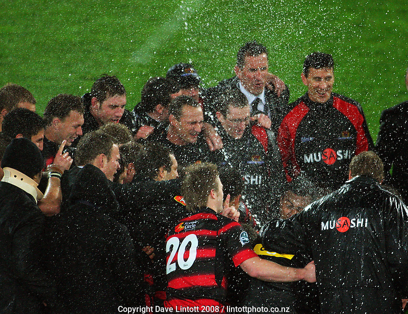 Champagne sprays as the Canterbury team celebrates during the Air NZ Cup Final between Wellington and Canterbury at Westpac Stadium, Wellington, New Zealand on Saturday 25th October 2008.  Photo: Dave Lintott / lintottphoto.co.nz