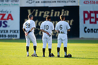 Jordan Keegan #28, Qualon Millender #10 and JD Ashbrook #6 of the Bristol White Sox during the National Anthem at Boyce Cox Field August 27, 2010, in Bristol, Tennessee.  Photo by Brian Westerholt / Four Seam Images