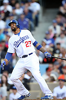 Matt Kemp #27 of the Los Angeles Dodgers bats against the San Francisco Giants at Dodger Stadium in Los Angeles,California on April 3, 2011. Photo by Larry Goren/Four Seam Images