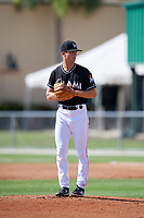 GCL Marlins starting pitcher Josh Roberson (21) gets ready to deliver a pitch during a game against the GCL Cardinals on August 4, 2018 at Roger Dean Chevrolet Stadium in Jupiter, Florida.  GCL Marlins defeated GCL Cardinals 6-3.  (Mike Janes/Four Seam Images)