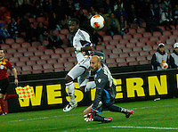 Marvin Emnes  Pepe Reina  during their soccer match <br /> <br />  UEFA Europa League round of 32 second  leg match, betweenAC  Napoli  and Swansea City   at San Paolo stadium in Naples, Feburary 27 , 2014
