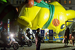 NEW YORK, NY – NOVEMBER 21: A group of New York City police pull people out while organizing safety measures for the annual Macy's Thanksgiving Day parade the night before the parade on November 21, 2018 in New York City.  (Photo by Pablo Monsalve /VIEWPress)