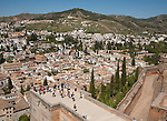 View of historic Moorish buildings in the Albaicin district of Granada, Spain seen from the Alcazar fortress in the Alhambra