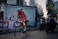 Michael Valgren (DEN/Astana) attacking and going solo in the final lap<br /> <br /> MEN ELITE ROAD RACE<br /> Kufstein to Innsbruck: 258.5 km<br /> <br /> UCI 2018 Road World Championships<br /> Innsbruck - Tirol / Austria