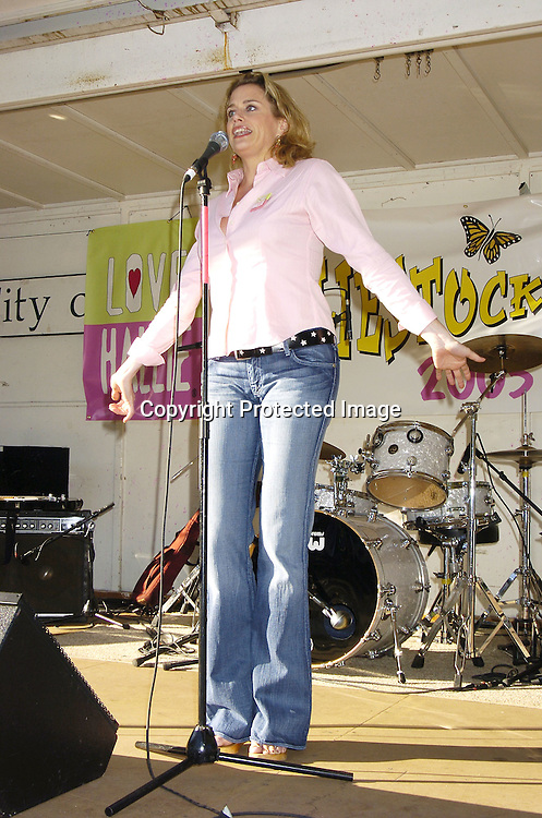 Cady Huffman singing a song from The Producers..at Halliestock 2 benefit on September 24, 2005 at ..Sunnyside Gardens Park in Queens. This benefit raised money for Love, Hallie. ..Photo by Robin Platzer, Twin Images