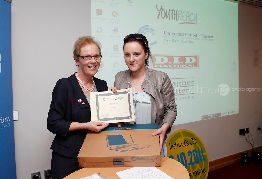 """***NO FEE PIC***.27/09/2011.(L to r) Noeline Blackwell Director of Flac ( Free Legal Advice Centre) & Clare King from Kiltimagh who recieved 2nd prize for her work on Social Injustice in the Irish Welfare System.during a """" Your Rights Right  now""""/ Youthreach competition prizegiving award ceremony at the Office of the Ombudsman for Children, Dublin. The competition called on young Youthreach students to express themselves about the important human rights issues affecting their lives..Photo: Gareth Chaney Collins"""