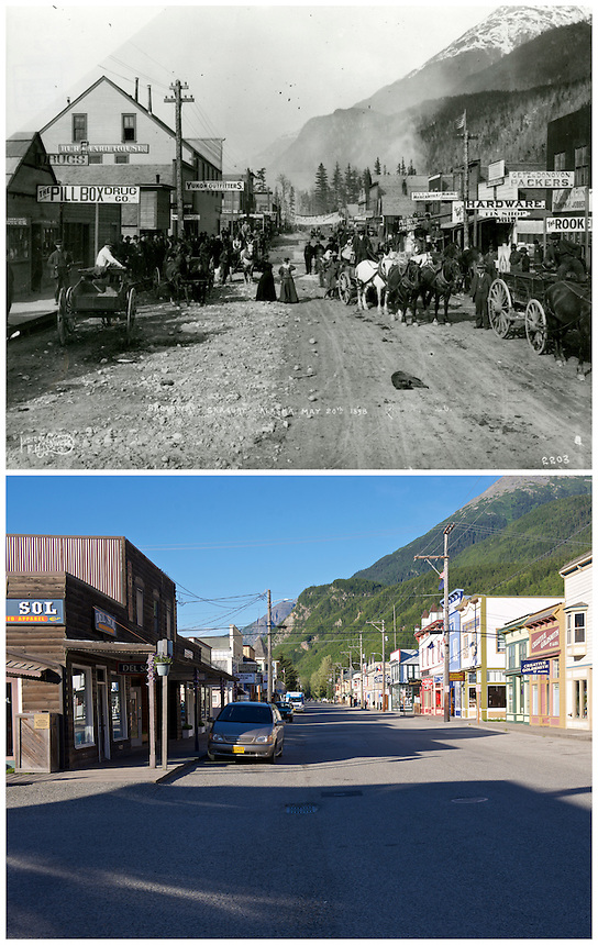 Photo Station SK-06: Skagway. View north on Broadway in Skagway, Alaska. Repeat photo taken August 2, 2014 by Ronald D. Karpilo Jr. Historic photo taken May 20, 1898 by Eric A. Hegg, (University of Washington Libraries, Special Collections, Hegg 20A).