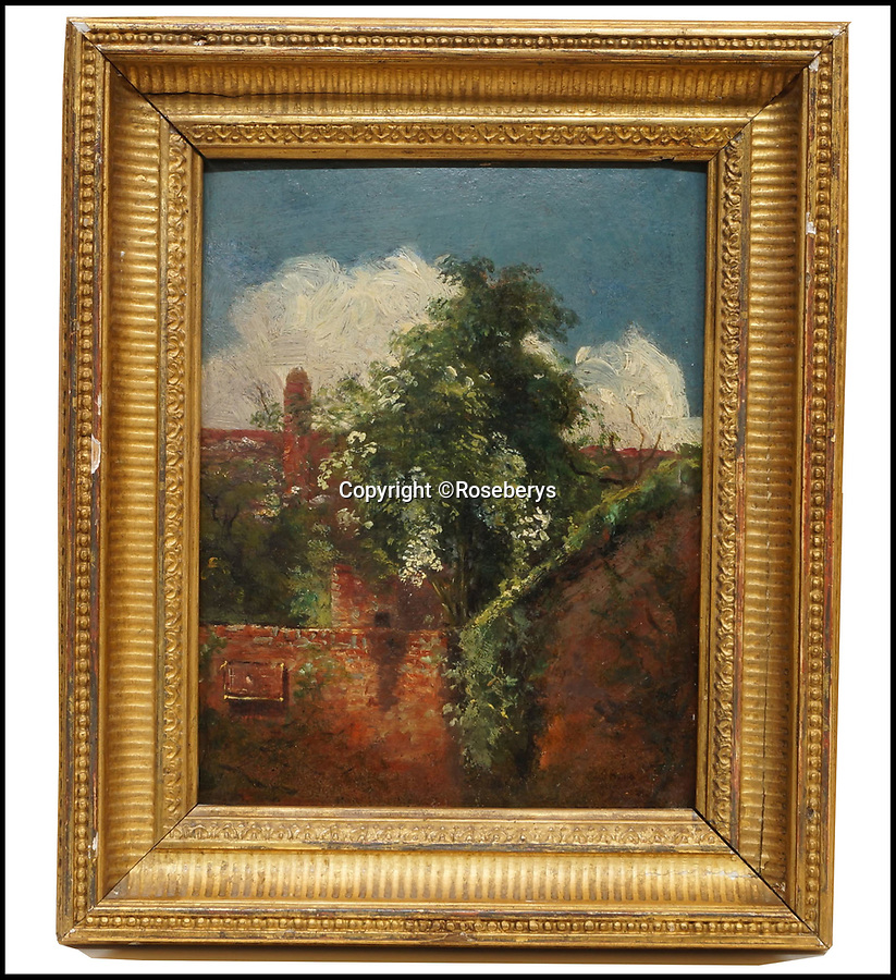 BNPS.co.uk (01202) 558833Pic: Roseberys/BNPS<br /> <br /> A 'lost' John Constable oil painting has sold for more than ten times its estimated value...<br /> <br /> A 'lost' oil sketch painted by John Constable has sold for a whopping £375,000 - more than ten times its estimate.<br /> <br /> The never-seen-before painting has been dated to 1821-22, when Constable spent two consecutive summers renting a house in Hampstead and has been linked to two similar paintings previously owned by his daughter.<br /> <br /> The owners had no idea it was done by Constable but auctioneers Roseberys of West Norwood, south London, carried out four months of vigorous research to confirm the previously unpublished picture's authenticity.<br /> <br /> The 7in by 5.5in oil on millboard sketch is called 'View towards the back of a Terrace of Houses, with elder tree' and has the initials JC inscribed on it.