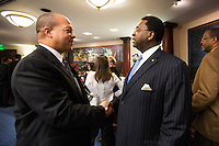 TALLAHASSEE, FLA. 3/4/14-New Rep. Mike Hill, R-Pensacola Beach, left, is welcomed to the House by Rep. Perry Thurston, D-Fort Lauderdale, right, during the opening day of the legislative session, March 4, 2014 at the Capitol in Tallahassee.<br /> <br /> COLIN HACKLEY PHOTO
