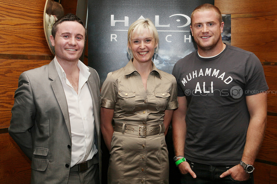 NO REPRO FEE. 14/9/2010. launch of Halo: Reach. Pictured at the Odeon Dublin for the launch of Halo: Reach are Shane Crossan,  Jackie Brannigan and Jamie Heaslip. Halo: Reach tells the tragic and heroic story of Noble Team, a group of Spartans, who through great sacrifice and courage, saved countless lives in the face of impossible odds. Picture James Horan/Collins Photos