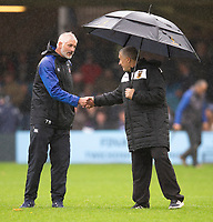 Bath Rugby's Head Coach Todd Blackadder with Northampton Saints' Head Coach Chris Boyd<br /> <br /> Photographer Bob Bradford/CameraSport<br /> <br /> Gallagher Premiership - Bath Rugby v Northampton Saints - Saturday 22 September 2018 - The Recreation Ground - Bath<br /> <br /> World Copyright &copy; 2018 CameraSport. All rights reserved. 43 Linden Ave. Countesthorpe. Leicester. England. LE8 5PG - Tel: +44 (0) 116 277 4147 - admin@camerasport.com - www.camerasport.com
