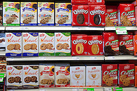 Boxes of various Leclerc cookies are seen in a Metro grocery store in Quebec city March 4, 2009.
