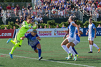 Allston, MA - Saturday August 19, 2017: Ashlyn Harris, Rosie White during a regular season National Women's Soccer League (NWSL) match between the Boston Breakers and the Orlando Pride at Jordan Field.