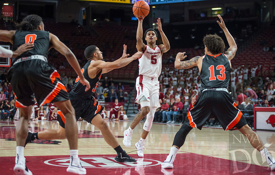 NWA Democrat-Gazette/BEN GOFF @NWABENGOFF <br /> Jalen Harris of Arkansas shoots in the first half vs Tusculum Friday, Oct. 26, 2018, during an exhibition game in Bud Walton Arena in Fayetteville.