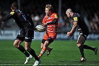 Matthew Tait of Leicester Tigers passes the ball. Aviva Premiership match, between Saracens and Leicester Tigers on April 11, 2015 at Allianz Park in London, England. Photo by: Patrick Khachfe / JMP