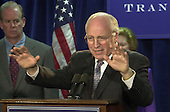 United States Vice President-elect Dick Cheney makes remarks at a press conference where he received the key to the presidential transition office in downtown Washington, DC in McLean, Virginia on December 14, 2000.<br /> Credit: Ron Sachs / CNP