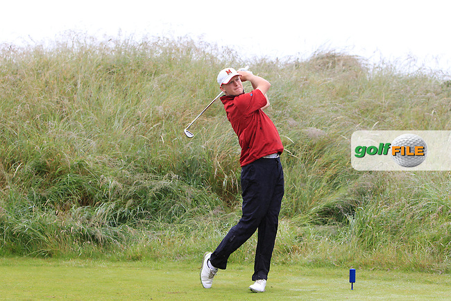 Tom Harris (Castletown) on the 5th tee during Round 1 of the North of Ireland Amateur Open Championship at Royal Portrush, Valley Corse on Monday 13th July 2015.<br /> Picture:  Thos Caffrey / www.golffile.ie
