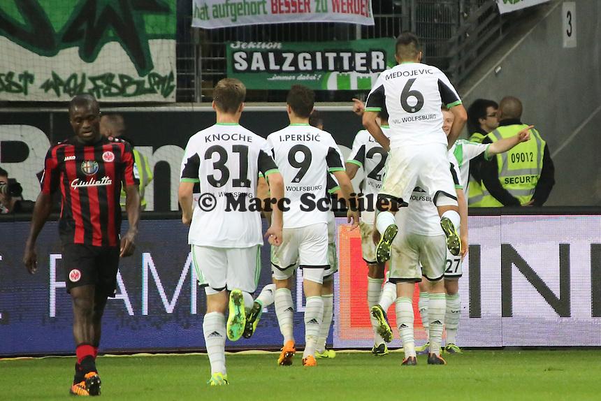 Torjubel Maximilian Arnold (Wolfsburg) beim 1:2 - Eintracht Frankfurt vs. VfL Wolfsburg, Commerzbank Arena