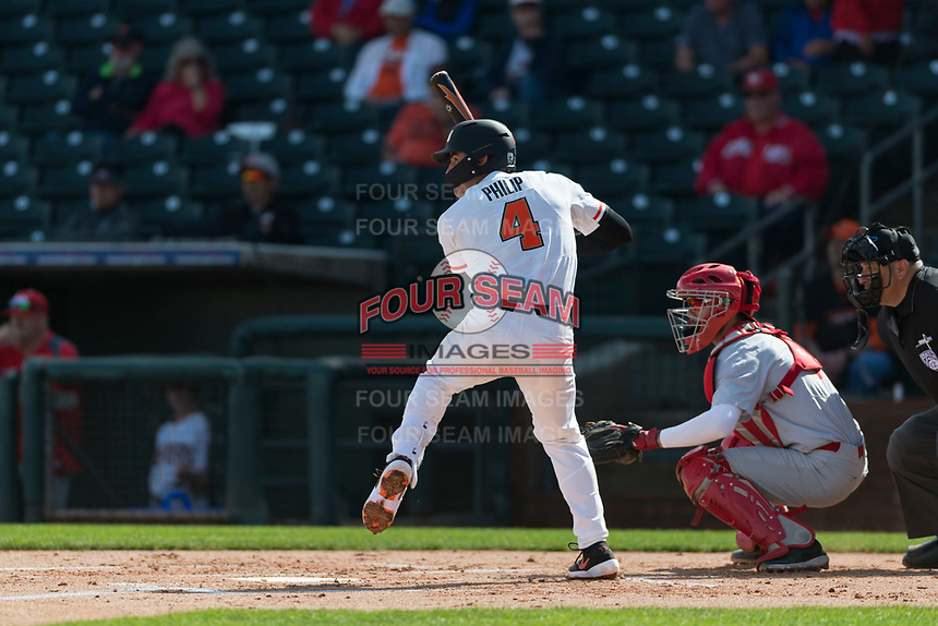 Oregon State Beavers shortstop Beau Philip (4) at bat during a game against the New Mexico Lobos on February 15, 2019 at Surprise Stadium in Surprise, Arizona. Oregon State defeated New Mexico 6-5. (Zachary Lucy/Four Seam Images)