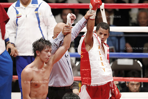 (L-R) Ryoichi Taguchi (JPN), Carlos Canizales (VEN),  <br /> DECEMBER 31, 2016 - Boxing : WBA light flyweight title bout at Ota-City General Gymnasium, Tokyo, Japan. Ryoichi Taguchi won the fight on points after 12th rounds.<br /> (Photo by Yusuke Nakanishi/AFLO SPORT)