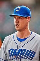 Omaha Storm Chasers starting pitcher Luke Farrell (19) before the game against the Salt Lake Bees in Pacific Coast League action at Smith's Ballpark on May 8, 2017 in Salt Lake City, Utah. Salt Lake defeated Omaha 5-3. (Stephen Smith/Four Seam Images)