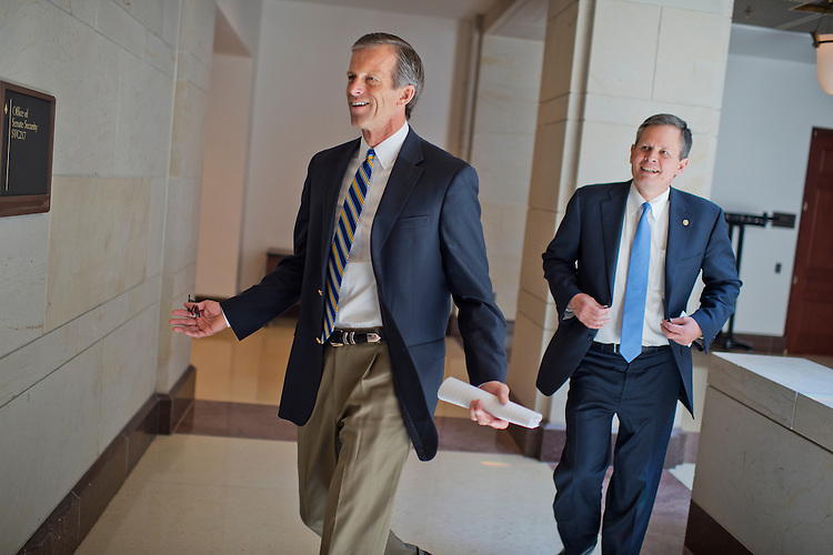 UNITED STATES - MAY 14: Sens. John Thune, R-S.D., left, and Steve Daines, R-Mont., arrive for news conference in the Capitol Visitor Center with agriculture leaders to urge passage of the trade promotion authority legislation, May 14, 2015. (Photo By Tom Williams/CQ Roll Call)