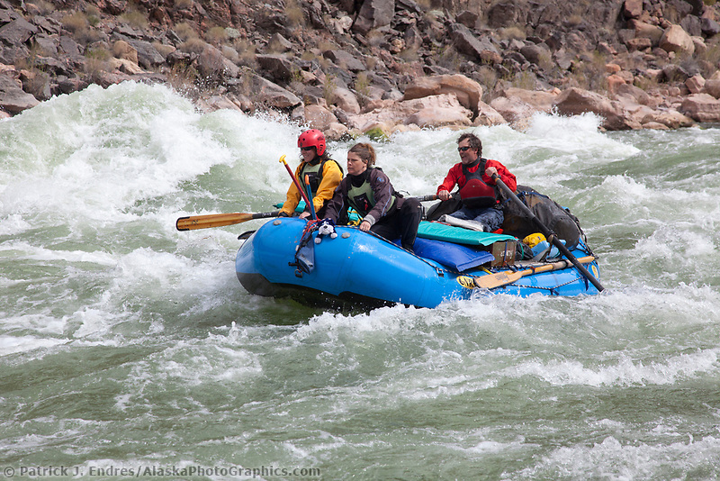 Whitewater rafting through rapids on the Colorado River in the Grand Canyon National Park, Arizona