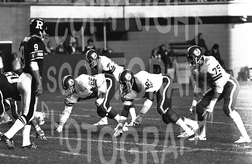 Bill Manchuk Saskatchewan Roughriders 1976. Photo F. Scott Grant
