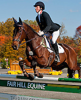 No Objection, with rider Jennie Brannigan (USA), competes during the Stadium Jumping test during the Fair Hill International at Fair Hill Natural Resources Area in Fair Hill, Maryland on October 21, 2012.