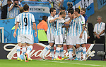 Argentina team group (ARG),<br /> JUNE 15, 2014 - Football / Soccer : Lionel Messi (10) of Argentina is congratulated by his teammates after Messi scoring a goal during the FIFA World Cup Brazil 2014 Group F match between Argentina 2-1 Bosnia Herzegovina at Estadio do Maracana in Rio de Janeiro, Brazil.<br /> (Photo by Song Seak-In/AFLO)