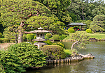 Stone lantern in Shinjuku Gyoen National Garden, Tokyo, Japan