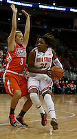 Ohio State Buckeyes guard Raven Ferguson (31) drives against Bowling Green Falcons guard Deborah Hoekstra (3) in the first half at Value City Arena in Columbus Nov. 24, 2013.