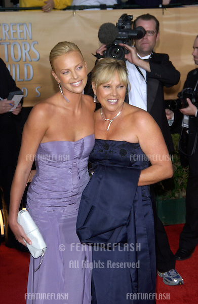 CHARLIZE THERON & mother at the 10th Annual Screen Actors Guild Awards in Los Angeles..February 22, 2004