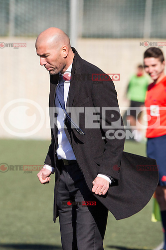 Real Madrid Castilla&acute;s coach Zinedine Zidane during 2014-15 Spanish Second Division B match between Trival Valderas and Real Madrid Castilla at La Canaleja stadium in Alcorcon, Madrid, Spain. February 01, 2015. (ALTERPHOTOS/Luis Fernandez) /NortePhoto<br />