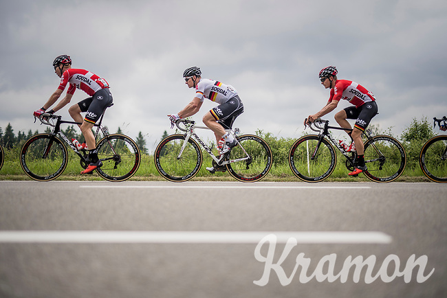 Team Lotto-Soudal pacing the peloton<br /> <br /> Ster ZLM Tour (2.1)<br /> Stage 4: Hotel Verviers &gt; La Gileppe (Jalhay)(190km)