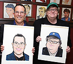 Michael Mayer and Michael Moore during the Michael Moore And Michael Mayer portrait unveilings as they join the Wall of Fame at Sardi's on September 21, 2017 at Sardi's in New York City.