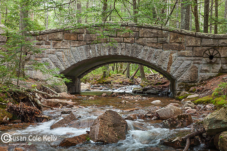 Stone bridge over Hadlock Stream in Acadia National Park, Maine, USA